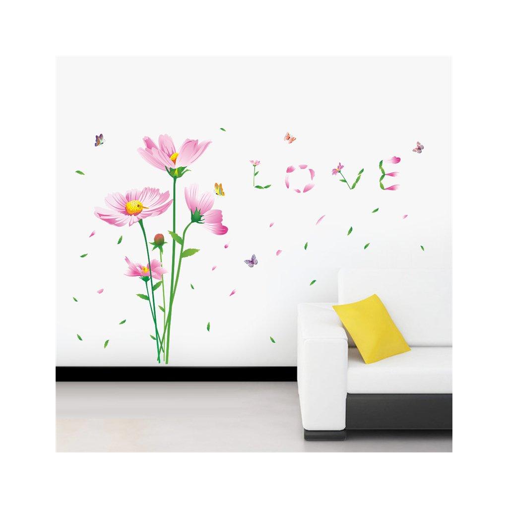 samolepiaca tapeta dekoracna samolepka na stenu nalepka farebne kvety love interierovy dizajn dekoracia nahlad stylovydomov