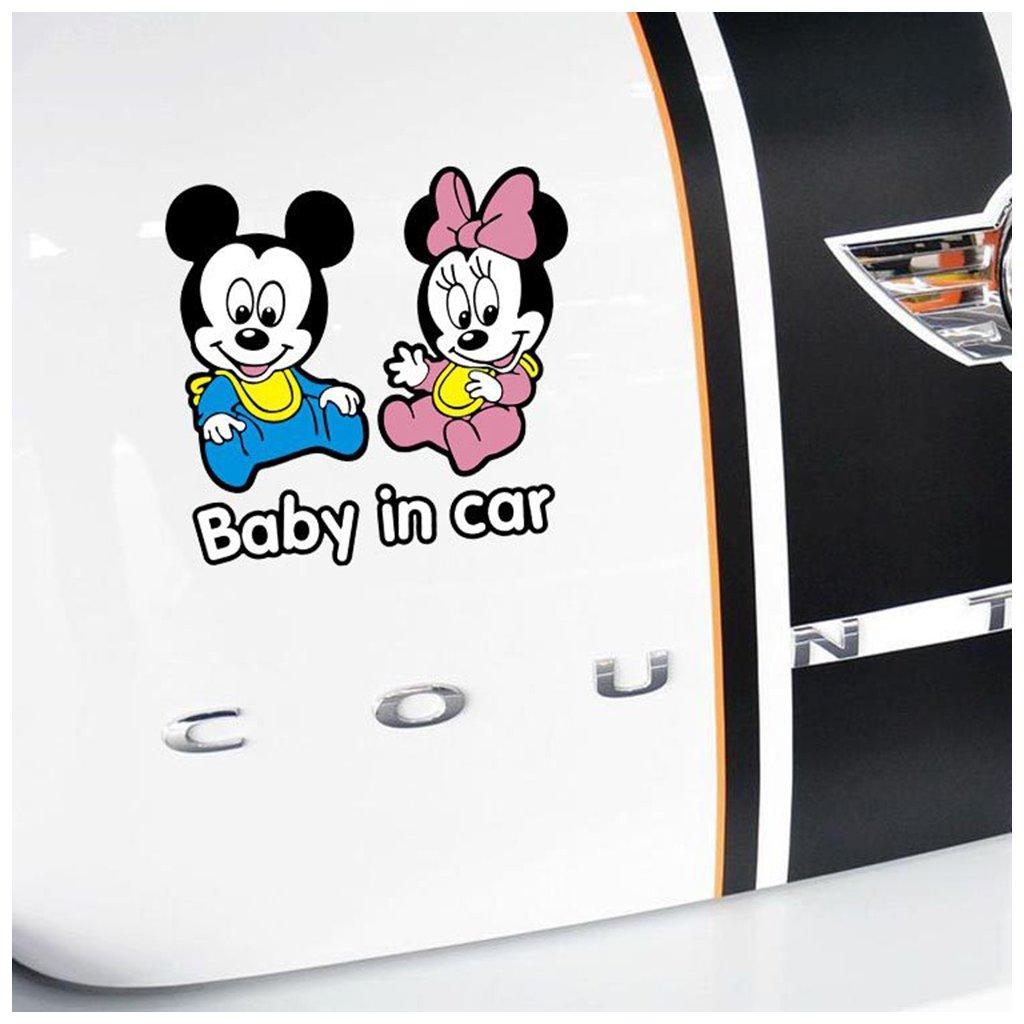 samolepka na auto detska nalepka mickey minnie baby in car baby on board dieta v aute farebna nahlad stylovydomov
