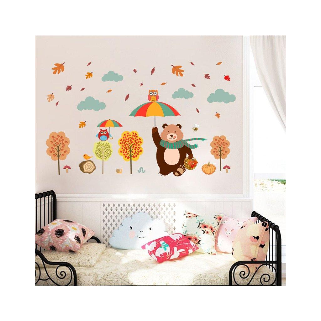 detska samolepka na stenu samolepiaca tapeta dekoracna nalepka medved s dazdnikom vizualizacia stylovydomov