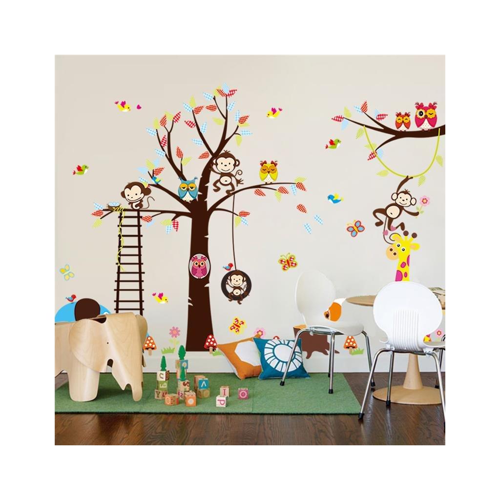 detska samolepka na stenu samolepiaca tapeta dekoracna nalepka strom so zvieratkami 2 vizualizacia stylovydomov