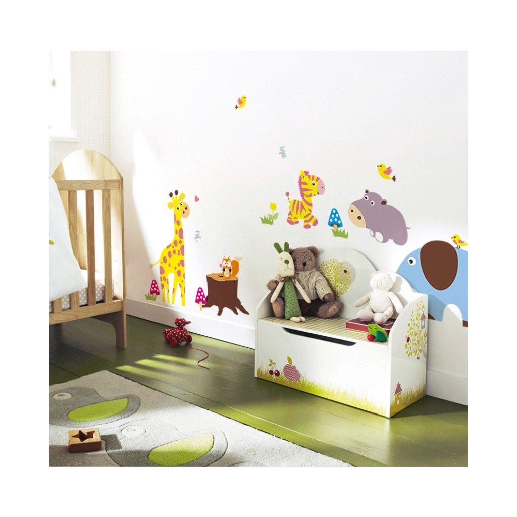 samolepka na stenu pre deti detska nalepka dekoracia farebne zvieratka xxl vizualizacia stylovydomov