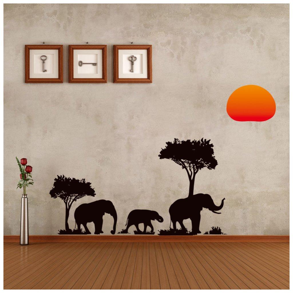 """Samolepka na stenu """"Africké slony"""" 37x89 cm"""