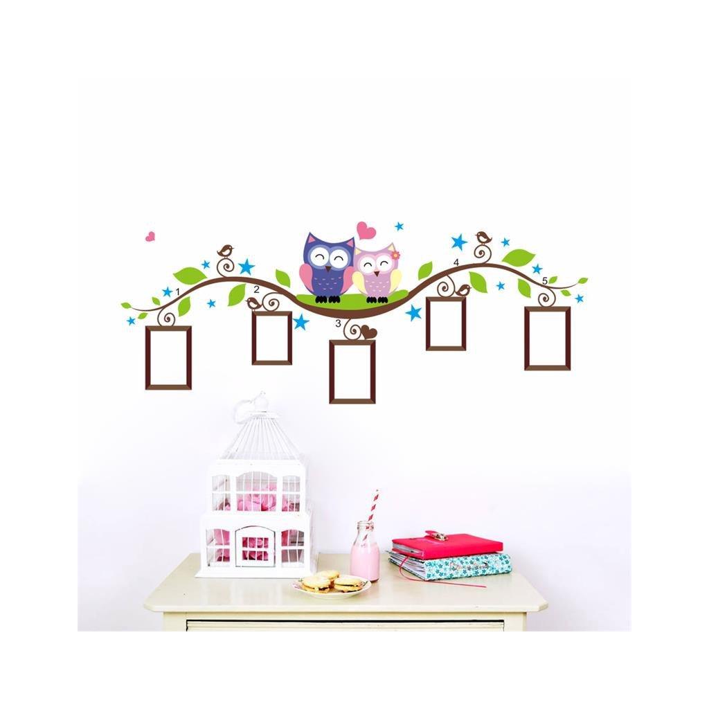 """Samolepka na stenu """"Sovičky s fotkami"""" 52x133 cm"""