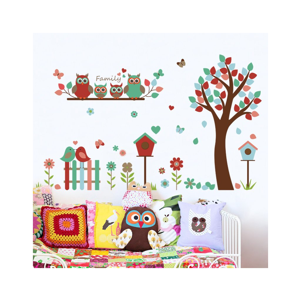 "Samolepka na stenu ""Strom so sovičkami 2"" 124x87cm"