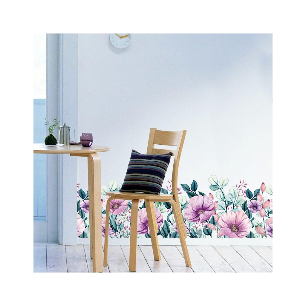 """Samolepka na stenu """"Kvety"""" 25x130 cm"""