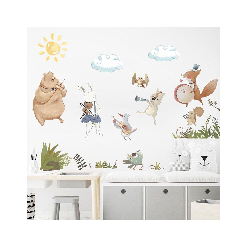 "Samolepka na stenu ""Zvieratká - hudobníci 2"" 72x120 cm"