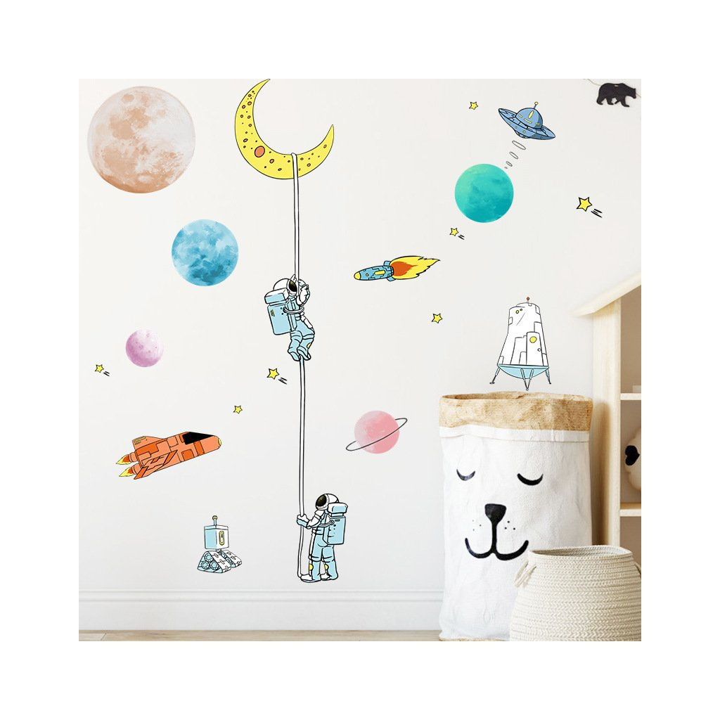 "Samolepka na stenu ""Astronauti 2"" 125x90 cm"