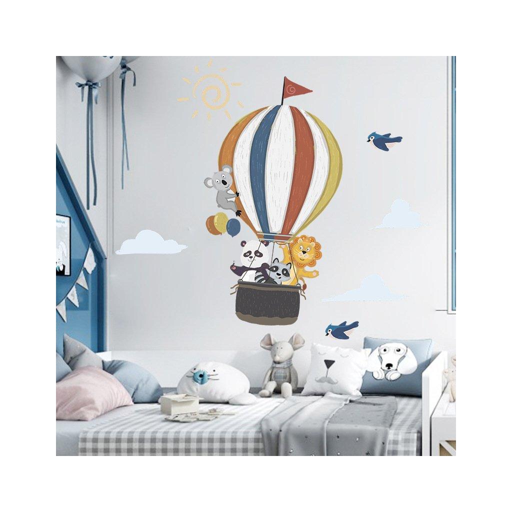 """Samolepka na stenu """"Teplovzdušný balón so zvieratkami"""" 99x110 cm"""
