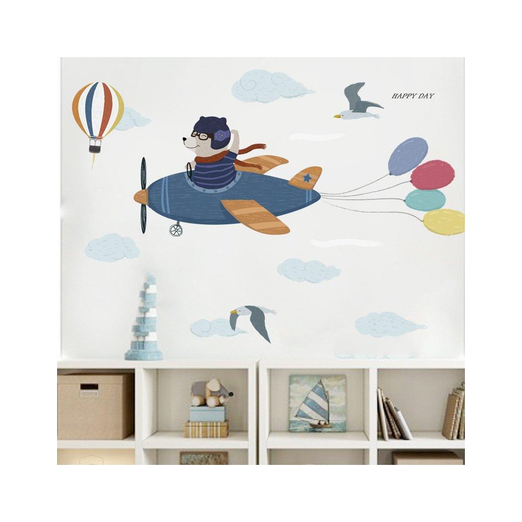 """Samolepka na stenu """"Medveď v lietadle"""" 55x150 cm"""