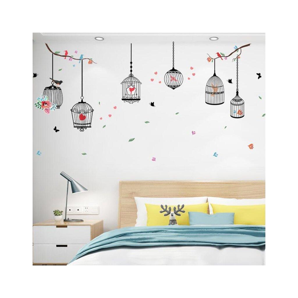"Samolepka na stenu ""Klietky s vtákmi 2"" 96x190 cm"
