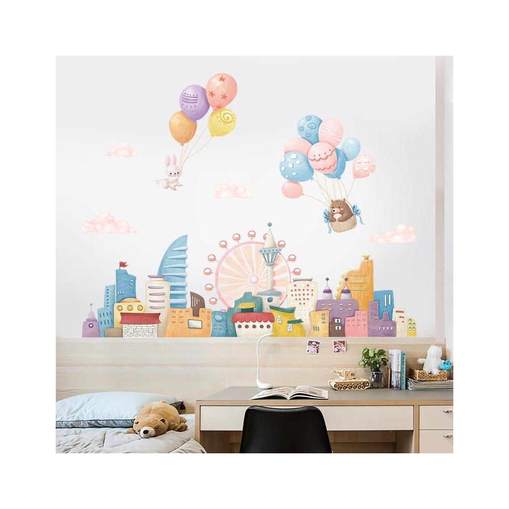 "Samolepka na stenu ""Balóny nad mestom"" 77x104 cm"