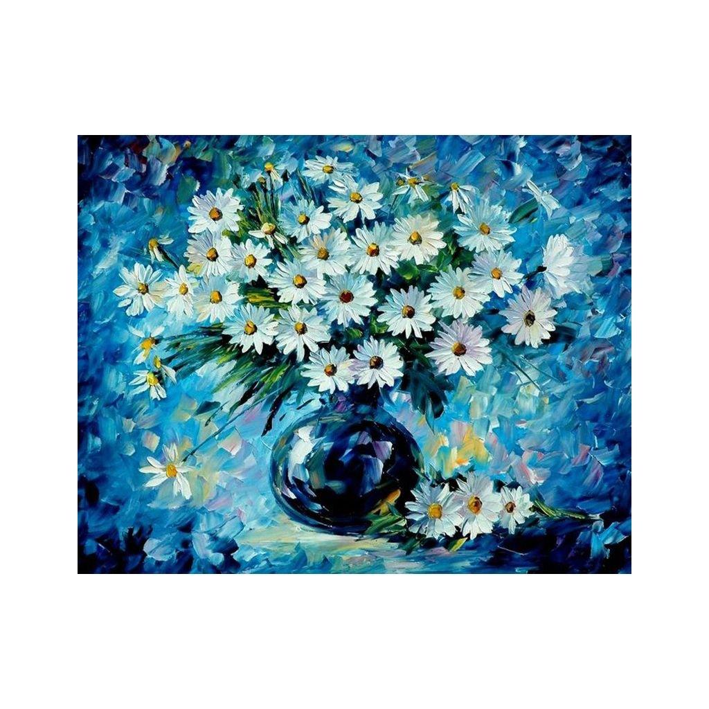 """Maľovanie podľa čísiel s rámom """"Kvetiny vo váze 2"""" 50x40 cm"""