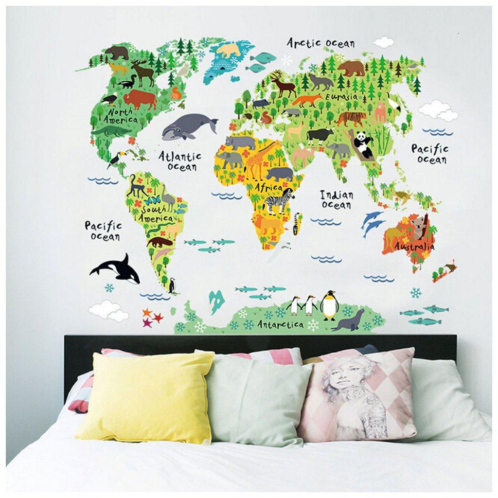 samolepiaca tapeta pre deti samolepka na stenu detska nalepka farebna mapa sveta dekoracia interier dizajn nahlad stylovydomov