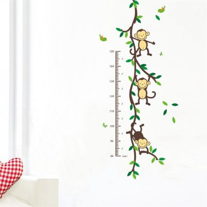 "Samolepka na stenu ""Detský meter - Opičky"" 50x110 cm"