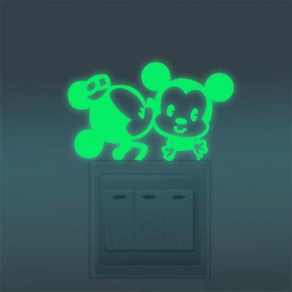 samolepka na vypinac pre deti detska nalepka fosforova mickey minnie mouse dekoracia nahlad stylovydomov