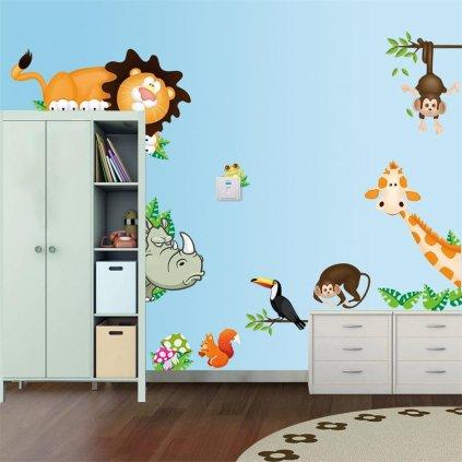 """Samolepka na stenu """"Zvieratká z džungle"""" 30x90 cm"""
