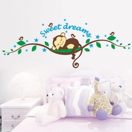 """Samolepka na stenu """"Opička - Sweet Dreams"""" 120x46 cm"""