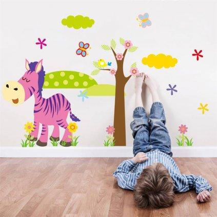 "Samolepka na stenu ""Farebná zebra so stromom"" 46x36 cm"
