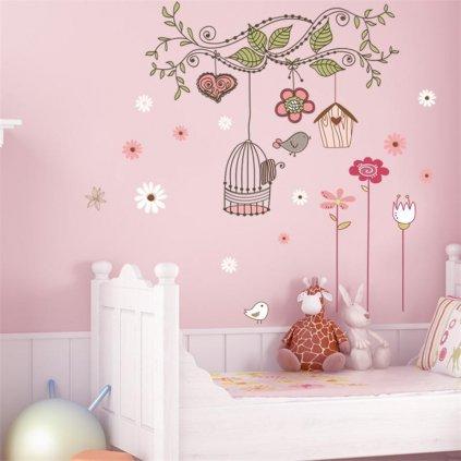 detska samolepka na stenu samolepiaca tapeta dekoracna nalepka pre deti kvety vtaky nahlad stylovydomov