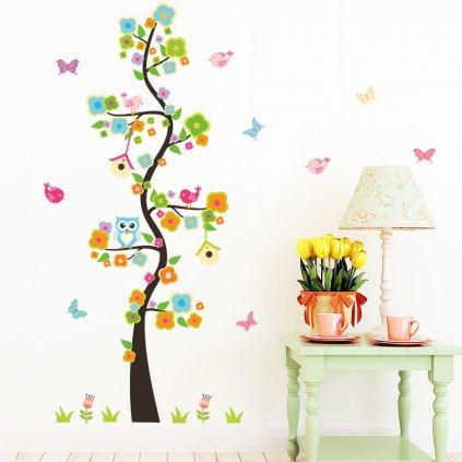 detska samolepka na stenu samolepiaca tapeta dekoracna nalepka pre deti detsky strom sovicky vizualizacia stylovydomov