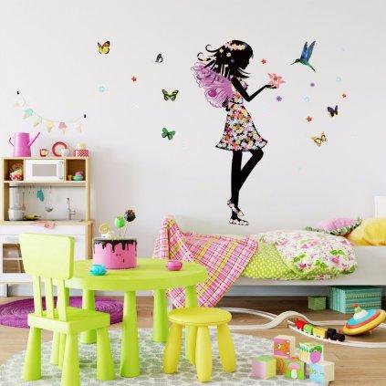 "Samolepka na stenu ""Víla s kolibríkom"" 110x140 cm"
