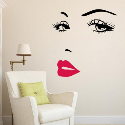 "Samolepka na stenu ""Ženská tvár"" 57x70 cm"