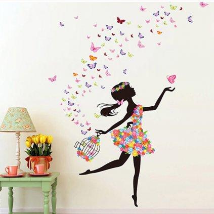 """Samolepka na stenu """"Dievča s motýľmi s klietkou"""" 130x170 cm"""