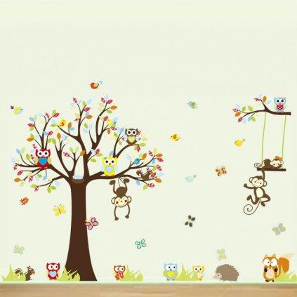 "Samolepka na stenu ""Strom so sovičkami"" 234x150 cm"