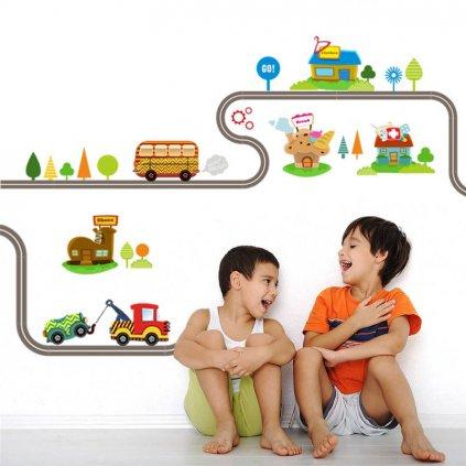 detska nalepka samolepka pre deti cesta s autickami 1 nahlad stylovydomov