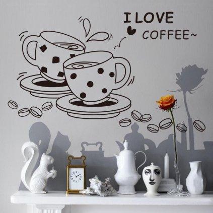 dekoracna samolepka na stenu vinylova nalepka interierova dekoracia kavove salky nahlad