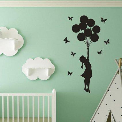 dekoracna samolepka na stenu vinylova nalepka interierova dekoracia biely dievca s balonmi vizualizacia