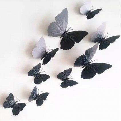 samolepka na stenu dekoracne plastove 3D motyle cierne stylovydomov