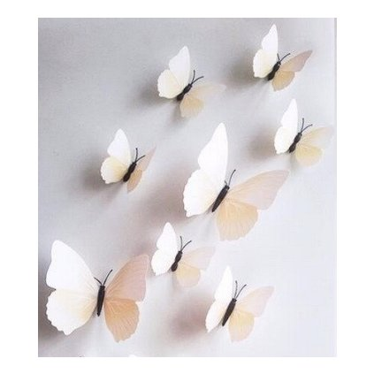 3D motýle krémové