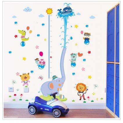 "Samolepka na stenu ""Detský meter - Sloník"" 192x165cm"