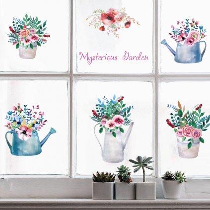 """Samolepka na stenu """"Kvety vo vázach"""" 65x112cm"""