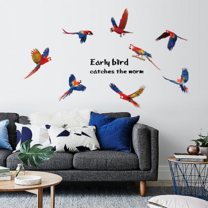 "Samolepka na stenu ""Papagáje Ara"" 85x117cm"