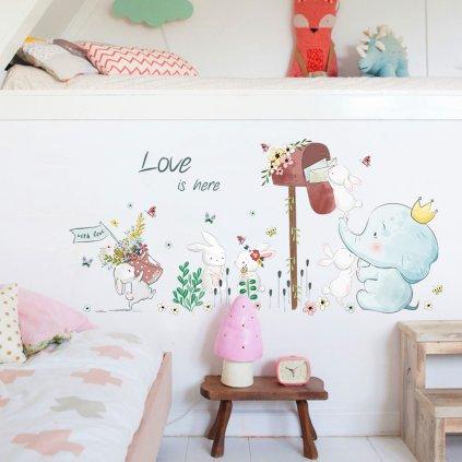 "Samolepka na stenu ""Sloník so zajačikmi"" 52x110 cm"
