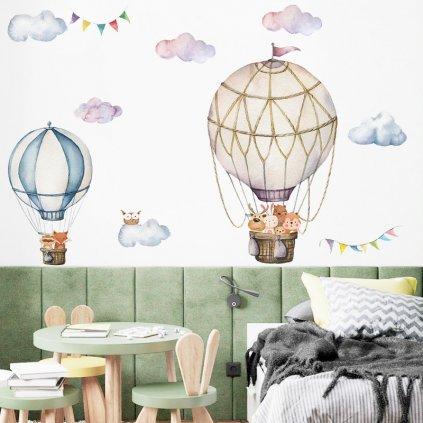 """Samolepka na stenu """"Teplovzdušné balóny so zvieratkami 3"""" 87x90 cm"""