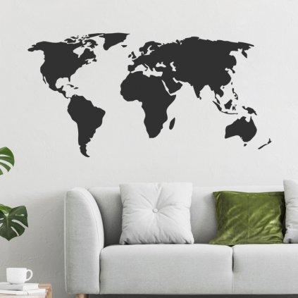 """Samolepka na stenu """"Mapa sveta - čierna"""" 64x125 cm"""