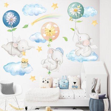 "Samolepka na stenu ""Sloníky na obláčikoch"" 86x111 cm"