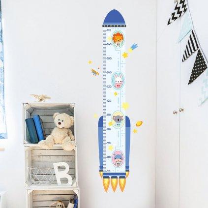 "Samolepka na stenu ""Detský meter - Raketa"" 129x38 cm"