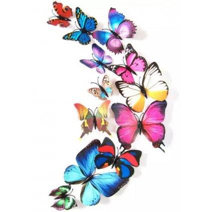 """Samolepka na stenu """"Plastové farebné 3D motýle"""" 12 ks 6-12 cm"""