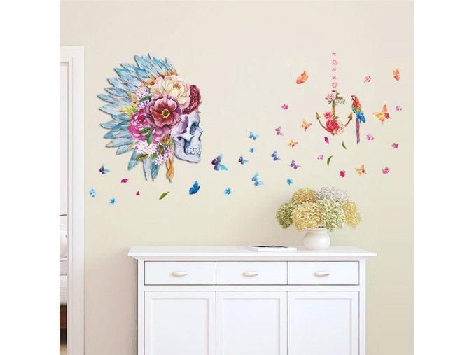 samolepiaca tapeta dekoracna samolepka na stenu nalepka farebna lebka s kvetmi interierovy dizajn dekoracia nahlad balenia stylovydomov