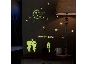 dekoracna fosforova samolepka na stenu pre deti samolepiaca tapeta detska nalepka zalubene deti zamilovane mesiac hviezdy nahlad noc stylovydomov