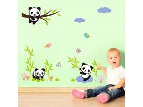 detska samolepka na stenu samolepiaca tapeta dekoracna nalepka pre deti panda pandy na konaroch zvieratka nahlad stylovydomov