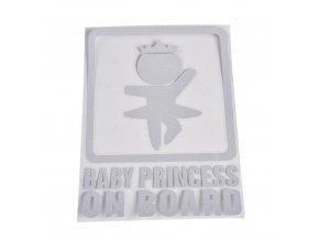 samolepka na auto detska nalepka dievca dievcatko princezna baby princesson board dieta v aute biela nahlad stylovydomov