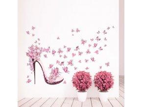 samolepiaca tapeta dekoracna samolepka na stenu nalepka lodicka s motylmi a srdieckami interierovy dizajn dekoracia nahlad stylovydomov