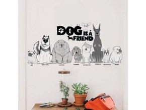 samolepiaca tapeta dekoracna samolepka na stenu nalepka pes je priatel interierovy dizajn dekoracia nahlad stylovydomov