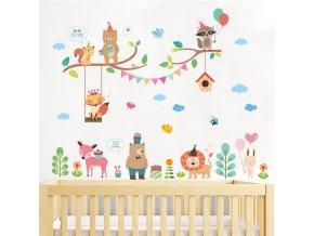 detska samolepka na stenu samolepiaca tapeta dekoracna nalepka vesele zvieratka nahlad stylovydomov